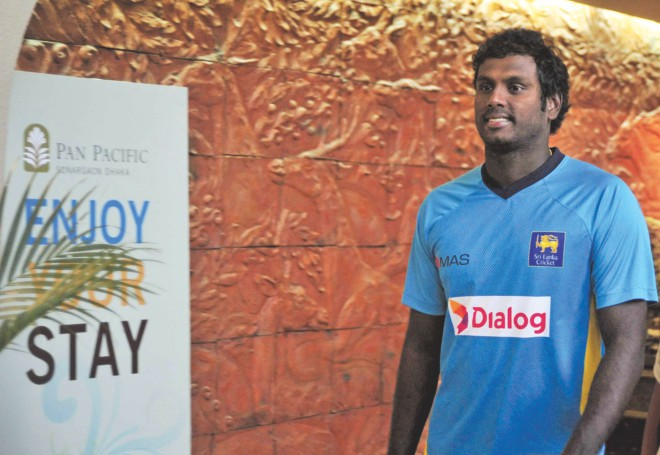 Sri Lanka skipper Angelo Mathews makes his way back from the press conference at the Pan Pacific Sonargaon Hotel in Dhaka yesterday, on the eve of today's Asia Cup final against Pakistan at the Sher-e-Bangla National Stadium in Mirpur. PHOTO: STAR