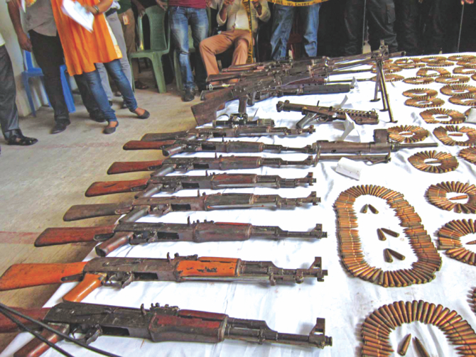 Arms and ammunition recovered from the Satchhari National Park in Habiganj. Photo: Star