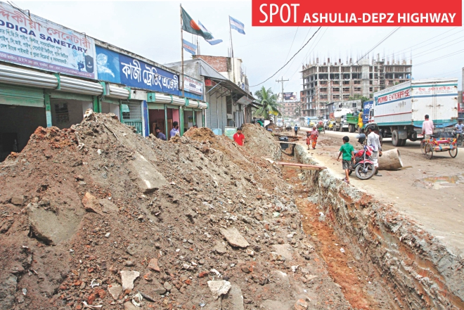 The Roads and Highways Department is finally laying drainage line along a one-kilometre stretch of Ashulia-DEPZ highway and giving temporary fixes to the edges of the road, inset, yesterday ahead of the Eid rush. The pothole-riddled road creates day-long traffic jams. Photo: Palash Khan