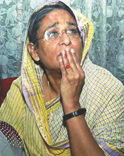 A day after the grenade attack, Sheikh Hasina apparently reeling from the trauma at her Dhanmondi home. Photo: File
