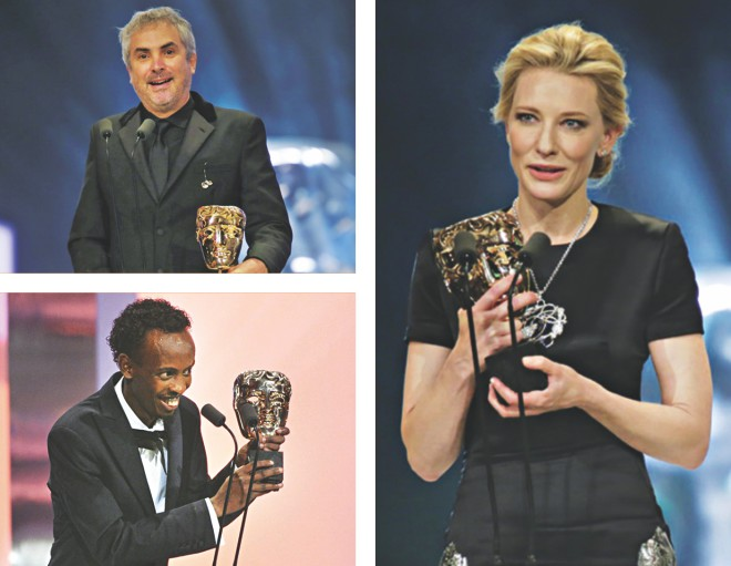 (Clockwise) Alfonso Cuaron, Cate Blanchett and Barkhad Abdi receive their awards. Photo Courtesy: BAFTA