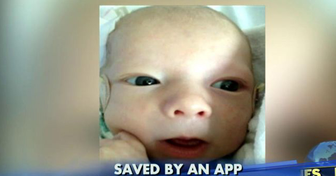 Mechanic saves the baby's life after alert from cellphone app. Photo: Fox News Insider