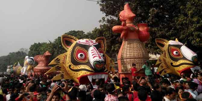 Students of the Institute of Fine Arts of Dhaka University bring out a colourful procession, known as Mongol Shobhajatra, in the capital to celebrate Pahela Baishakh. Photo: Fardaus Mobarok
