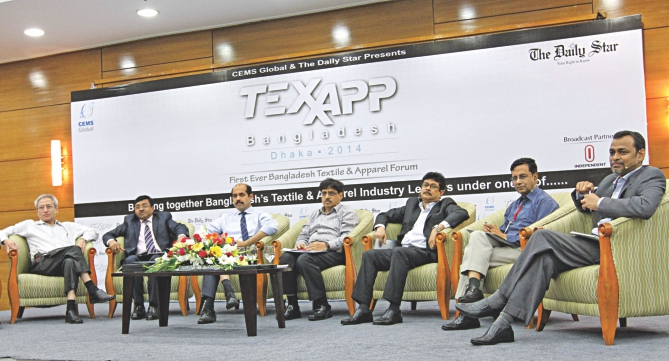 Analysts speak at a discussion on the garment industry organised by CEMS Global and The Daily Star at Bangabandhu International Conference Centre in Dhaka yesterday.  Photo: Star