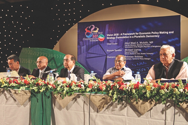 From right, Gowher Rizvi, foreign affairs adviser to the prime minister; Akbar Ali Khan, former caretaker government adviser; HT Imam, political affairs adviser to the prime minister; Mohiuddin Alamgir, former president of Bangladesh Economic Association; and Amir Khasru Mahmud Chowdhury, former commerce minister, attend a conference organised by Bangladesh Economists Forum in Dhaka yesterday.  Photo: Star