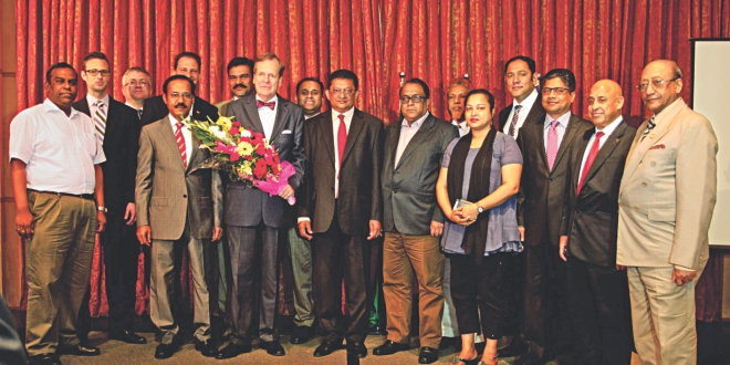 Bangladesh German Chamber of Commerce and Industry farewells outgoing German Ambassador Albrecht Conze at the Westin in Dhaka yesterday. BGCCI President Sakhawat Abu Khair and Executive Director Daniel Seidl are also seen.  Photo: BGCCI