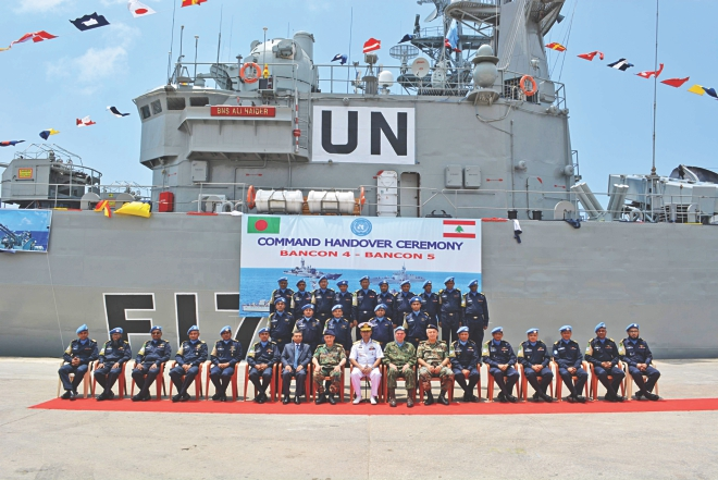 Rear Admiral AMMM Aurangjeb Chowdhury, assistant chief of naval staff (operations), Bangladesh Navy, and Rear Admiral Walter Eduardo Bombarda, commander of Maritime Task Force (MTF) of the UN Interim Forces in Lebanon (UNIFIL), with UNIFIL members in front of the new ship BNS Ali Haider, which Bangladesh Navy contributed to the MTF in Lebanon yesterday. Photo: Courtesy