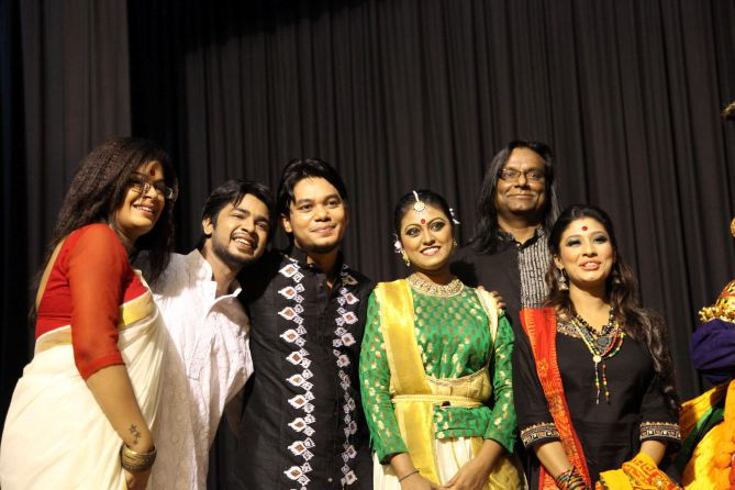 Bangladeshi artistes pose for a photo after the performance