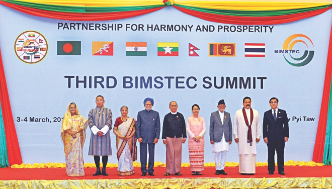 Heads of state and government of Bay of Bengal Initiative for Multi-Sectoral Technical and Economic Cooperation (Bimstec) countries meet at the Myanmar's capital Nay-Pyi-Taw on the eve of Bimstec summit yesterday. Photo: PID