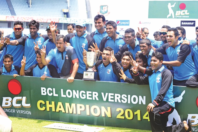 Champions Prime Bank South Zone pose with the trophy after beating BCB North Zone in the Bangladesh Cricket League final at the Sher-e-Bangla National Stadium in Mirpur yesterday.   PHOTO: STAR