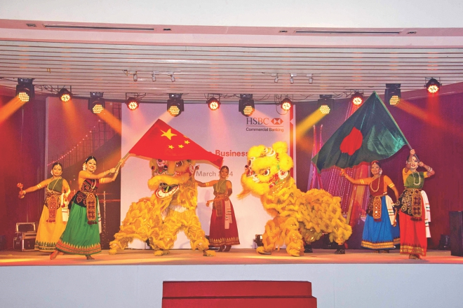 Artists perform at a colourful cultural programme after a seminar on Bangladesh-China business outlook, organised by HSBC and the Chinese Chamber of Commerce in Bangladesh, at Radisson Hotel in Dhaka on Friday.  Photo: HSBC