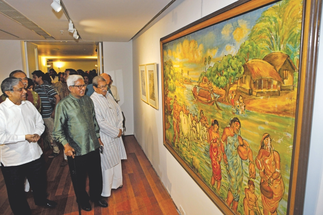 Chairperson of Bengal Foundation Abul Khair, left, Brac founder Sir Fazle Hasan Abed, middle, and Professor Emeritus Anisuzzaman looking at paintings of SM Sultan after inaugurating the Daily Star-Bengal Arts Precinct at The Daily Star Centre yesterday. Photo: Star