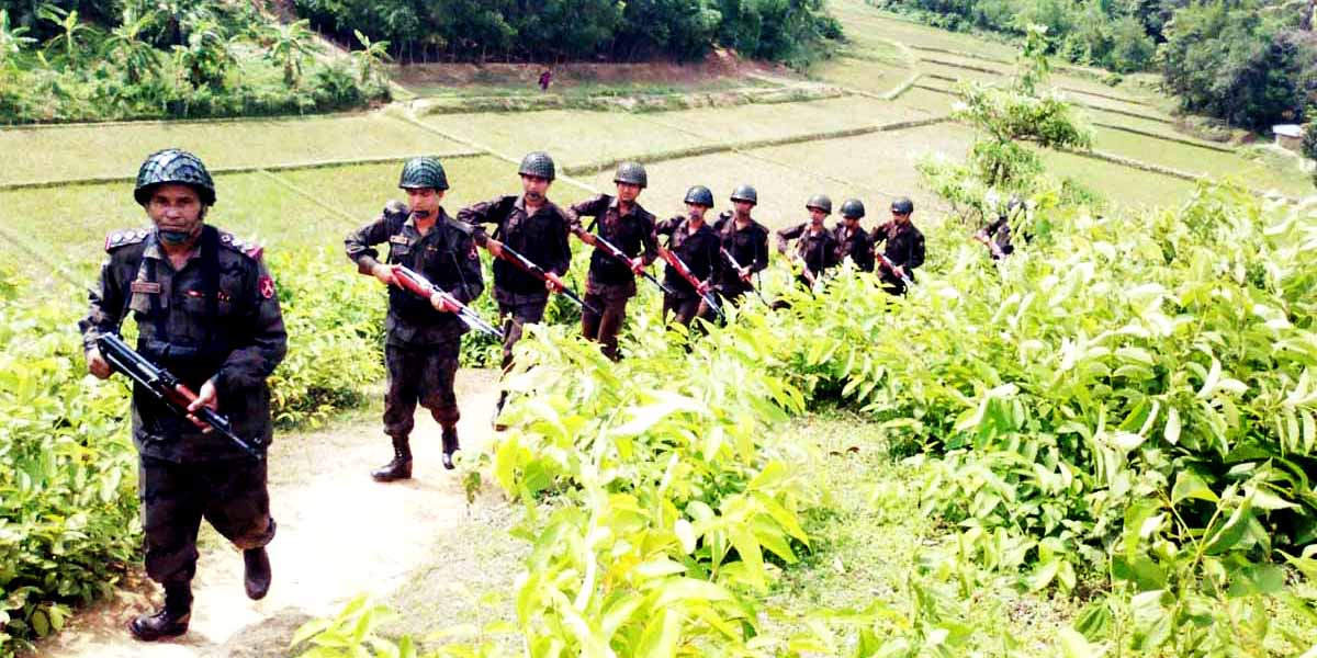 Members of Border Guard Bangladesh patrol on Mayanmar border on Friday.