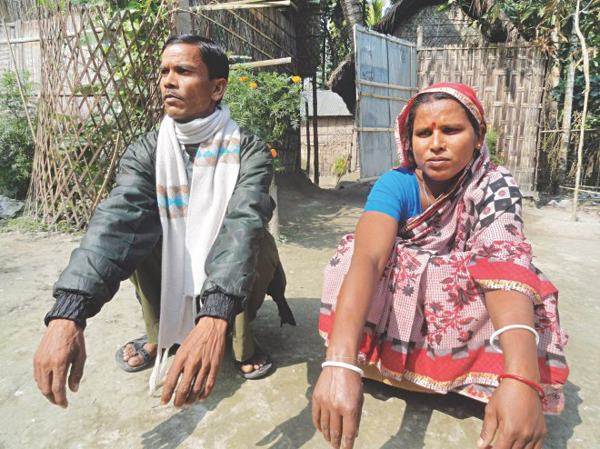 Bhabani Kanta Sen at Rasulpur of Patgram in Lalmonirhat. The Hindu family had to seek help of the police to ward off the aggression by the ruling party man. Photo: Star