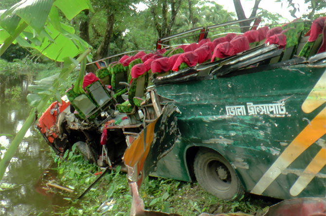 A bus of Bhola Transport fells into a roadside ditch in Charfashion upazila of Bhola, killing four passengers on Tuesday. Photo: STAR