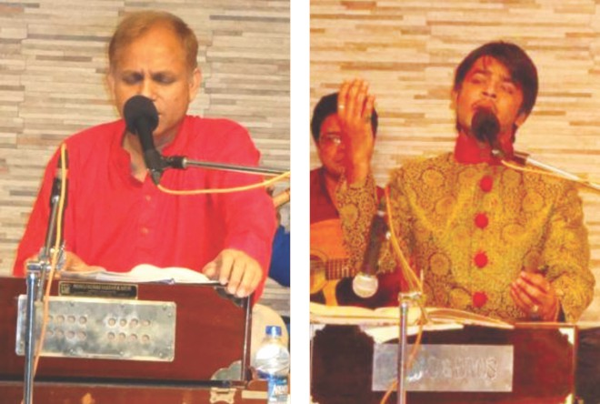 Bishwajit and Shojib sing at the programmes.