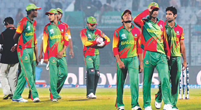 Dumbfounded and dejected they should be, Bangladesh cricketers leave the field of play after their two-wicket reverse at the hands of Hong Kong in their final World Twenty20 Group A first round match at the Zohur Ahmed Chowdhury Stadium in Chittagong yesterday. Despite the embarrassing defeat, the Tigers still proceeded to the Super 10s where they will be grouped along with West Indies, Pakistan, India and Australia. PHOTO: ANURUP KANTI DAS