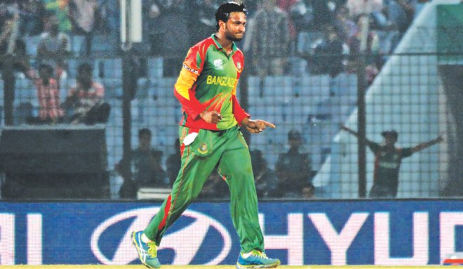 Star Bangladesh all-rounder Shakib Al Hasan celebrates one of his three wickets in their World Twenty20 Group A match against Hong Kong at the Zohur Ahmed Chowdhury Stadium in Chittagong yesterday. Shakib saved the tournament for Bangladesh as he slowed down Hong Kong's progress which saw them fail to chase the total within 13.1 overs, which would have seen the Tigers exit the tournament. PHOTO: ANURUP KANTI DAS