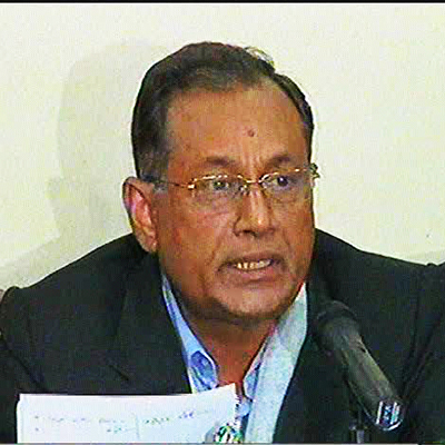 BNP International Affairs Secretary Assaduzzaman Ripon briefs media at party headquarter in Nayapaltan this evening. Photo: TV grab
