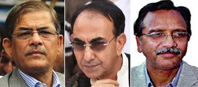 (From left) BNP leaders Mirza Fakhrul Islam Alamgir, Mirza Abbas and Abdus Salam. Star file photo