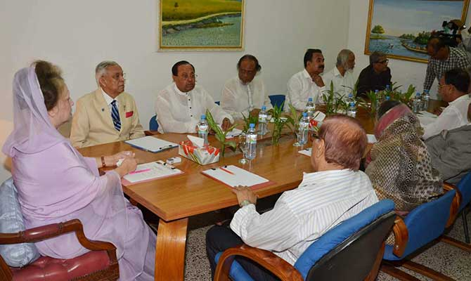 BNP Chairperson Khaleda Zia sits with top leaders of BNP at her Gulshan office this evening. Photo: Star