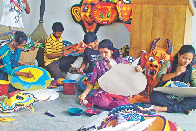 Artists at work to usher in Boishakh.