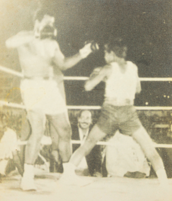 Little Giasuddin shaping up to pack a punch on Muhammad Ali. PHOTO: COLLECTED