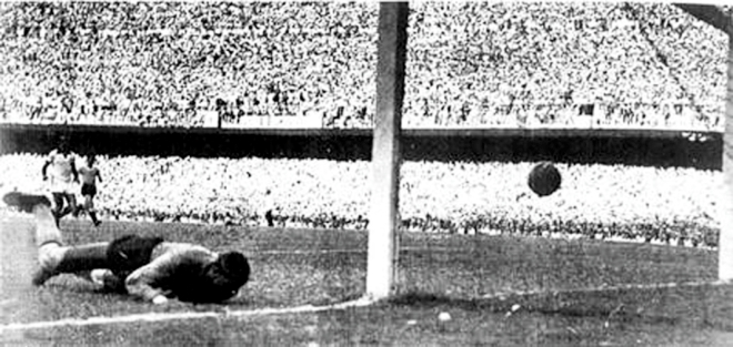 Brazil goalkeeper Barbosa is beaten on his near post by Uruguay striker Ghiggia as the hosts are beaten 2-1 and Uruguay take the Jules Rimet trophy home. PHOTO:DAILY STAR ARCHIVE