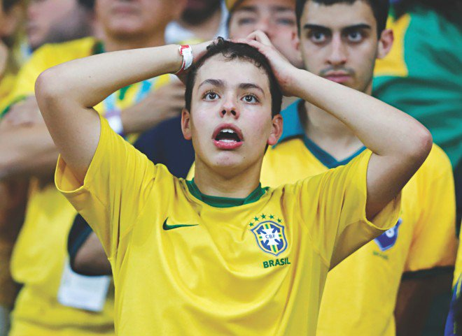 Going 7-1 down to Germany, it was all about disbelief for Brazil fans. PHOTO: REUTERS