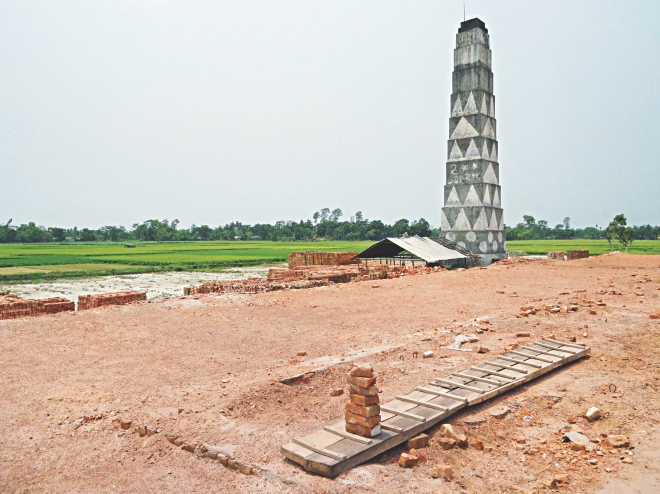 In violation of environmental rules, a brick kiln stands next to croplands of Doljor village in Lalmonirhat.  Photo: Star