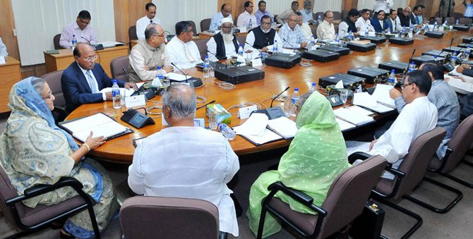 Prime Minister Sheikh Hasina chairs a cabinet meeting which approved a toll policy for all naitonal, regional and district-level roads and bridges.