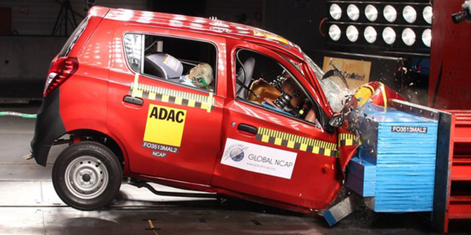 India's best-selling car Suzuki-Maruti Alto received a zero-star safety rating for adult occupant protection. Photo: BBC