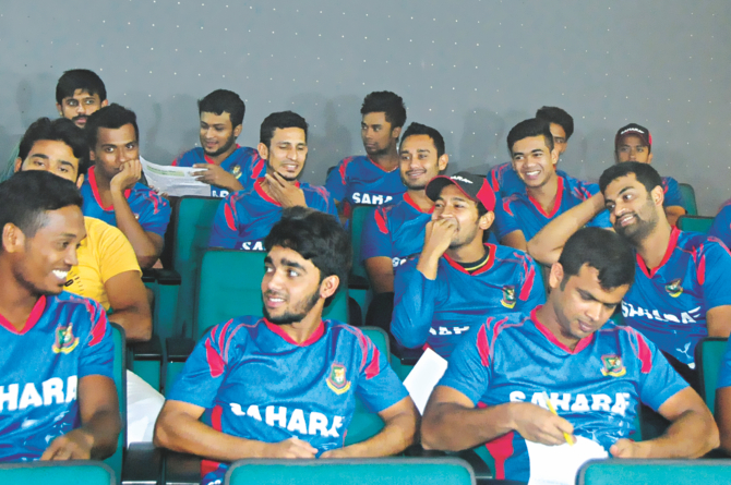 Bangladesh national cricketers resumed their camp after Eid with a two-hour long meeting with Chandika Hathurusingha (not in picture) at Mirpur yesterday where they were asked to explain their future goals. PHOTO: STAR