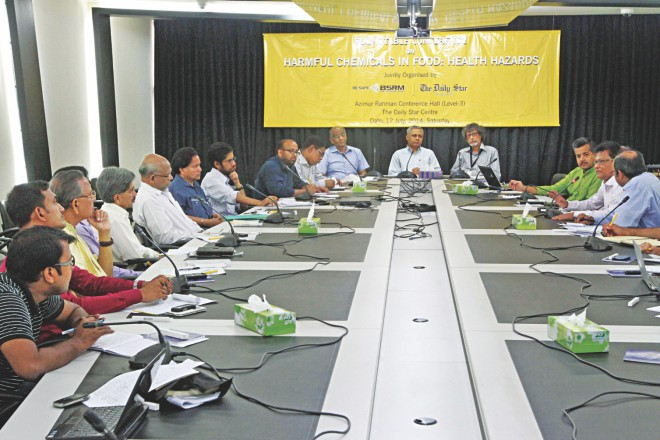 "Discussants at a roundtable on ""Harmful Chemicals in Food: Health Hazards"" jointly organised by The Daily Star and BSRM at The Daily Star Centre in the capital yesterday. Photo: Star"