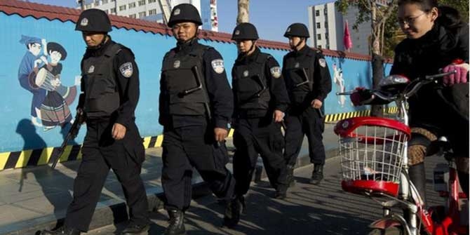Kunming authorities patrolled near the railway station on Monday