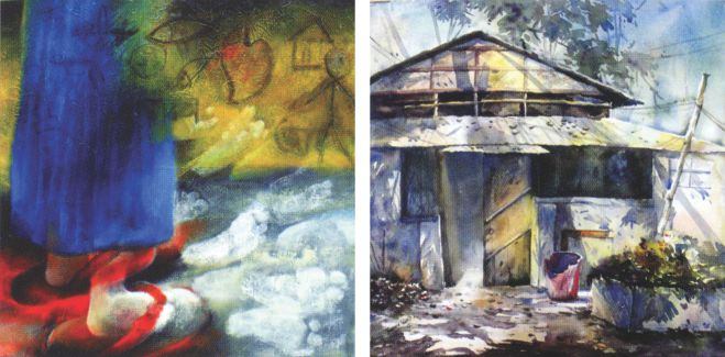 (From left): artworks by Rajib Roy and Rumana Islam Rupa.