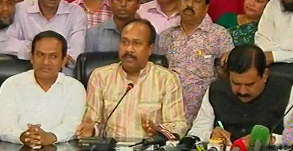 State Minister for Labour Mujibul Haque Chunnu speakes at BGMEA Bhaban in the capital on Thursday. Photo: TV grab