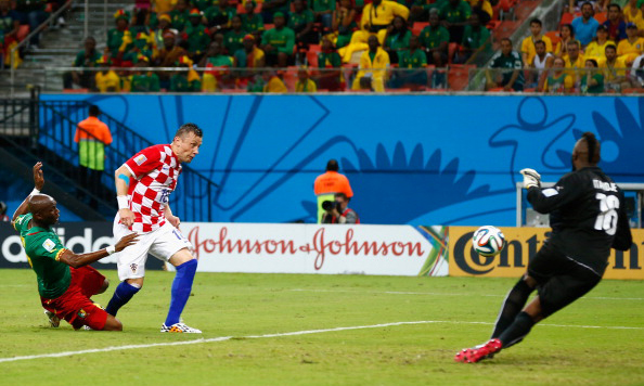 Ivica Olic of Croatia shoots and scores his team's first goal past Charles Itandje of Cameroon during the 2014 FIFA World Cup Brazil Group A match between Cameroon and Croatia at Arena Amazonia on June 19, 2014 in Manaus, Brazil. Photo: Getty Images