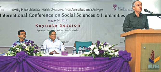Prof Willem van Schendel presents the keynote on 'Interconnected Asia' on the second day of a three-day international conference on Social Sciences and Humanities yesterday. Centre for Social Science Research (CSSR) of Independent University, Bangladesh (IUB) organised the conference on the university campus. Photo: Star
