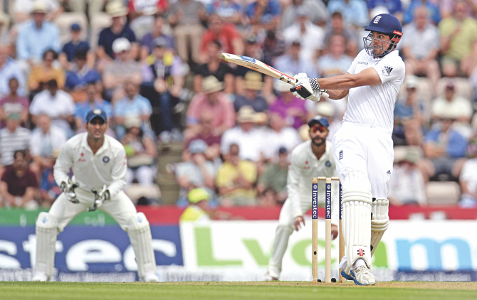 England captain Alastair Cook pulls one on way to hitting 95 on the first day of the third Test against India at Rose Bowl in Southampton on Sunday. PHOTO: REUTERS