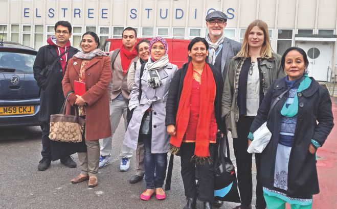 Mahbuba Moshqur (far right), Robin Auld (3-R), Munira Morshed Munni, Sareka Jahan, Luva Nahid Chowdhury, the writer, Parag Huq and Nahin Idris (from British Council, Bangladesh) at Elstree Studios.