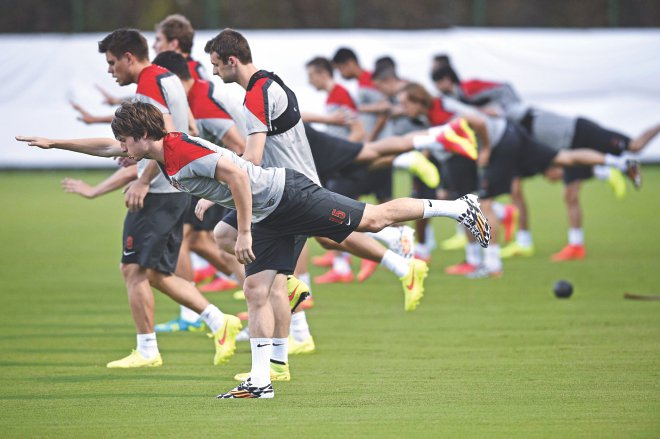 Croat players are raring to go against Brazil. PHOTO: AFP