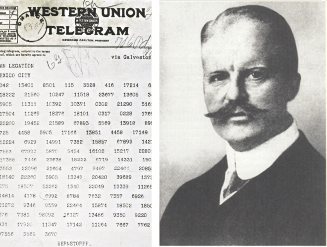 The Zimmermann Telegram as it was sent from Washington to Ambassador Heinrich von Eckardt, who was the German ambassador to Mexico. Right, Arthur Zimmermann.