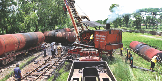 In this July 9 photo, a train carrying furnace oil derails in Foujdarhat, Sitakunda in Chittagong.