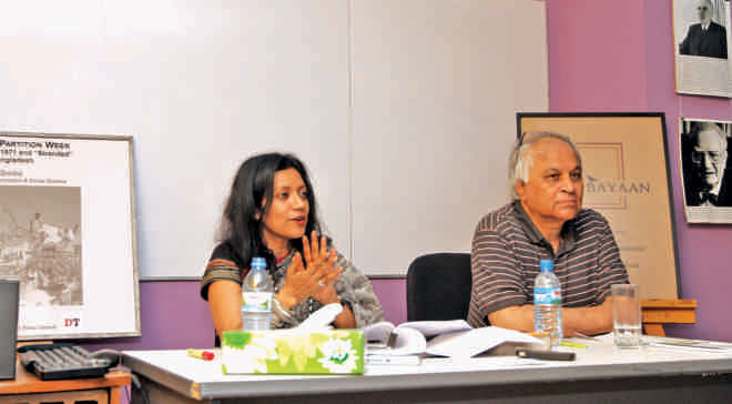 Professor Dr Dina M Siddiqui and Professor Dr Pias Karim discussed the history and present condition of the stranded Pakistanis. Photo: Prabir Das