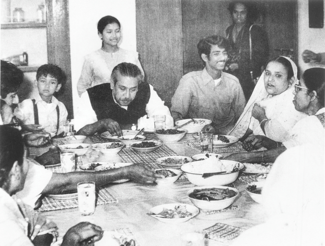 Father of the Nation Sheikh Mujibur Rahman having dinner with family on the first floor of his home on Dhanmondi-32 in the capital. Photo: File