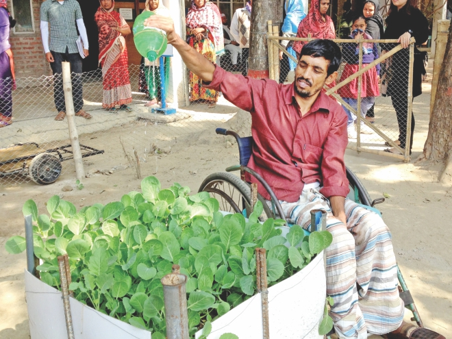 A disabled patient at CRP tending to his garden. Photo: Aditya Shaheen