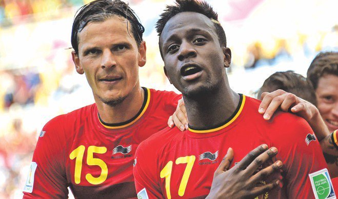 Teenage striker Divock Origi (R) came off the bench to shoot Belgium to the last 16 with an 88th minute winner against Russia at the Maracana Stadium in Rio de Janeiro yesterday. Photo:  AFP