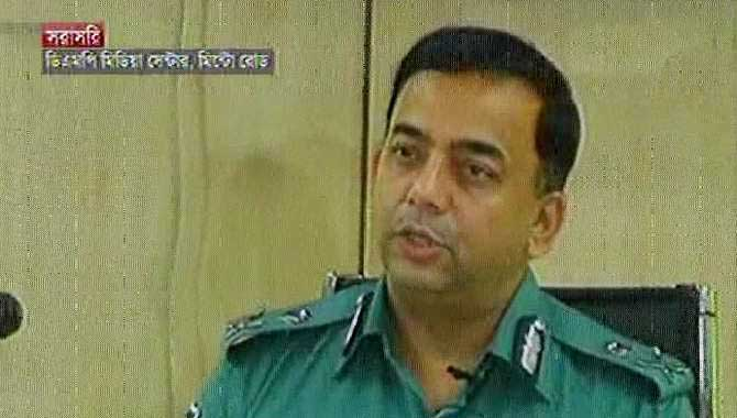 Dhaka Metropolitan Police Commissioner Benazir Ahmed addresses a press briefing at his office on Minto Road in the capital Saturday. Photo: TV grab