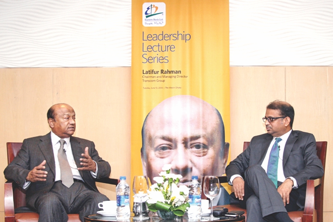 Left, Latifur Rahman, chairman of Transcom Group, speaks at the EBL Leadership Lecture Series at the Westin in Dhaka on Tuesday. Ali Reza Iftekhar, managing director of Eastern Bank, moderated the session. Photo: EBL